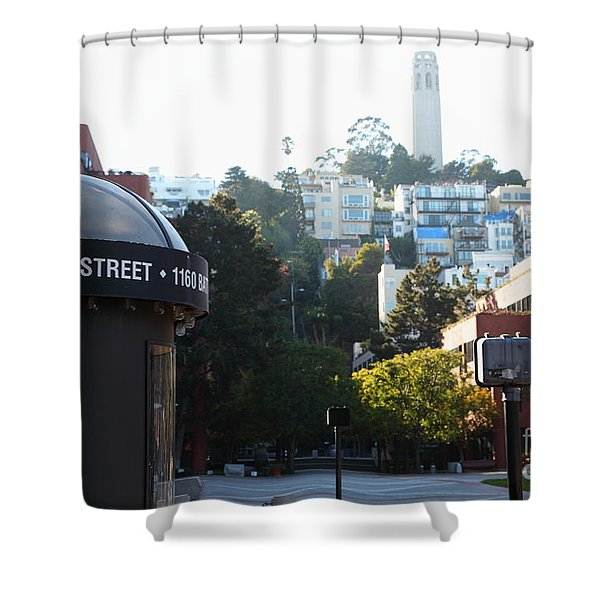 San Francisco Coit Tower At Levis Plaza 5D26212 Shower Curtain by Wingsdomain Art and Photography