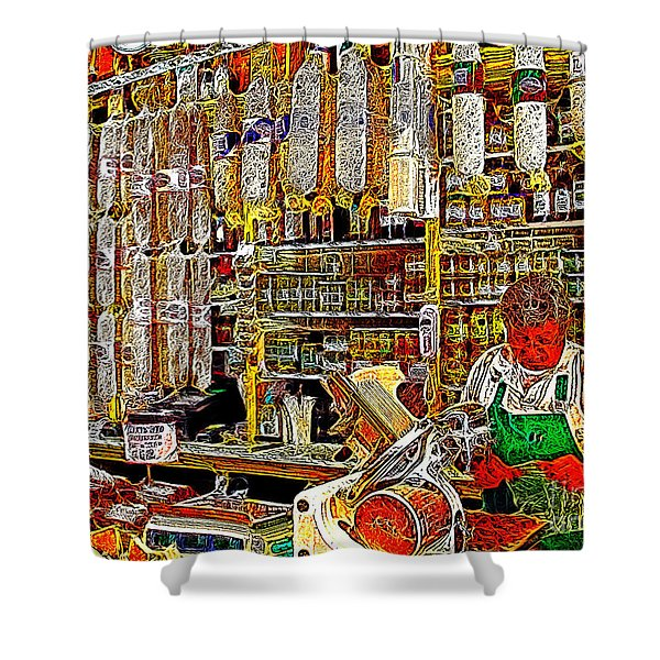 San Francisco North Beach Deli 20130505v1 Shower Curtain by Wingsdomain Art and Photography