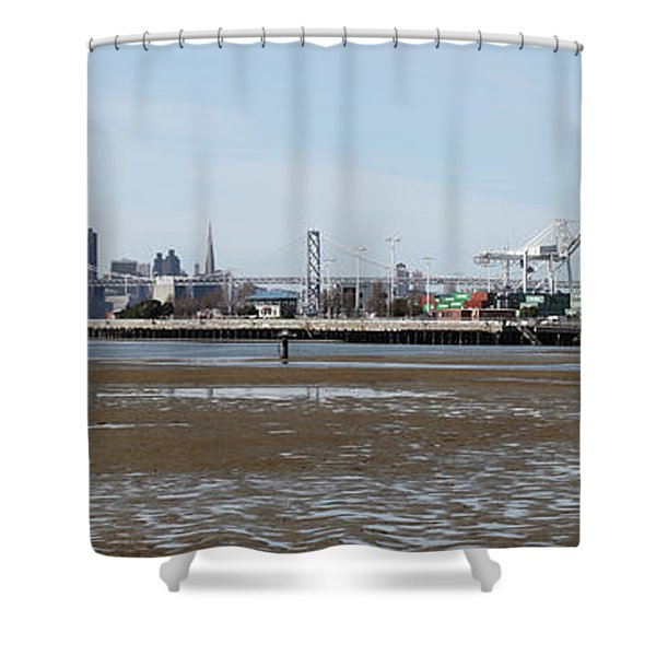 San Francisco Skyline And The Bay Bridge Through The Port Of Oakland 5d22238 Shower Curtain by Wingsdomain Art and Photography