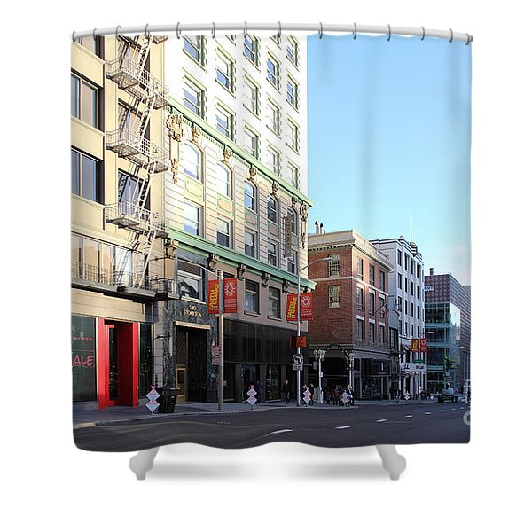 San Francisco Stockton Street At Union Square - 5d20564 Shower Curtain by Wingsdomain Art and Photography