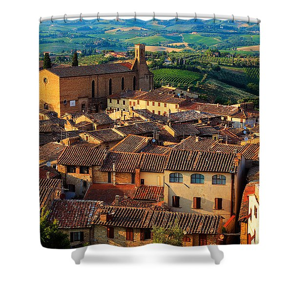 San Gimignano From Above Shower Curtain by Inge Johnsson