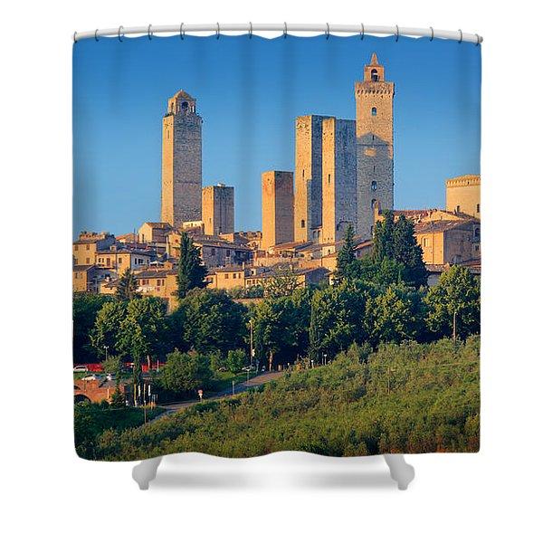 San Gimignano Skyline Shower Curtain by Inge Johnsson