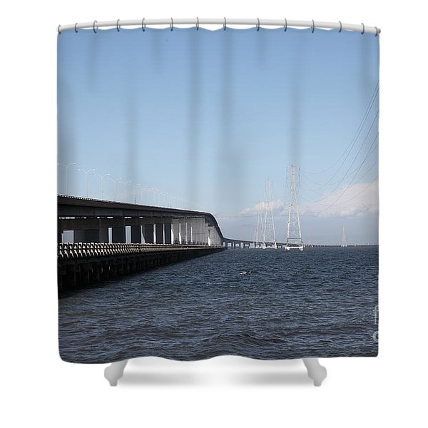 San Mateo Bridge In The California Bay Area 5d21893 Shower Curtain by Wingsdomain Art and Photography