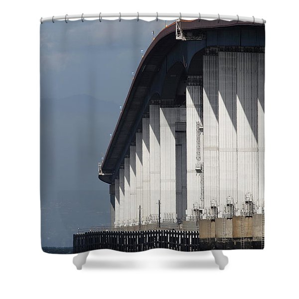 San Mateo Bridge In The California Bay Area 7d21935 Shower Curtain by Wingsdomain Art and Photography