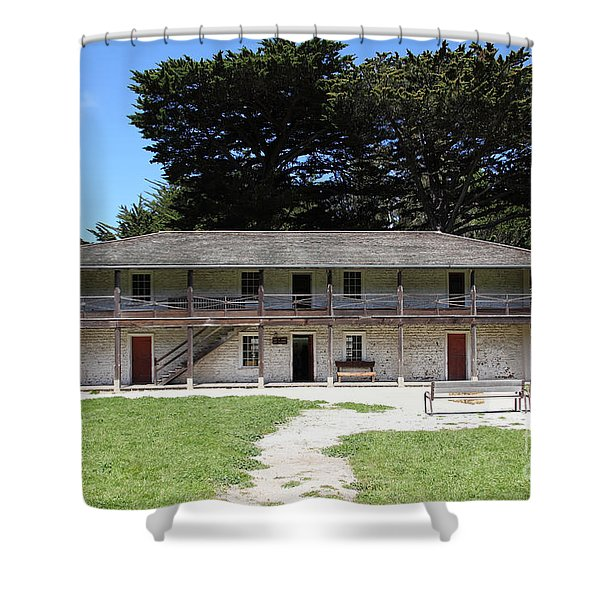 Sanchez Adobe Pacifica California 5d22644 Shower Curtain by Wingsdomain Art and Photography