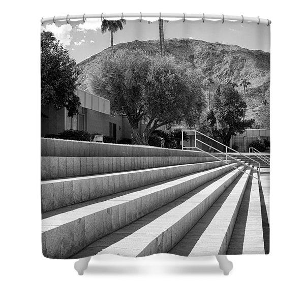 SANDPIPER STAIRS BW Palm Desert Shower Curtain by William Dey