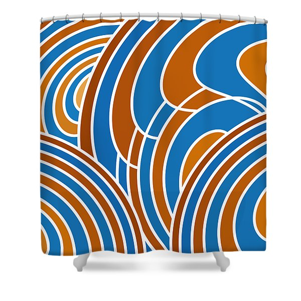 Sanguine And Blue Abstract Shower Curtain by Frank Tschakert