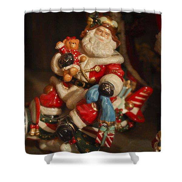 Santa Claus - Antique Ornament -05 Shower Curtain by Jill Reger