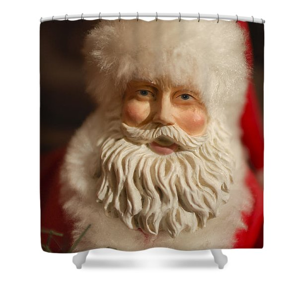 Santa Claus - Antique Ornament - 07 Shower Curtain by Jill Reger