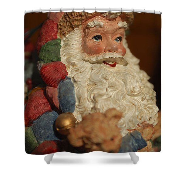 Santa Claus - Antique Ornament - 09 Shower Curtain by Jill Reger