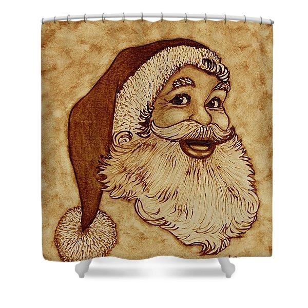 Santa Claus Joyful Face Shower Curtain by Georgeta  Blanaru