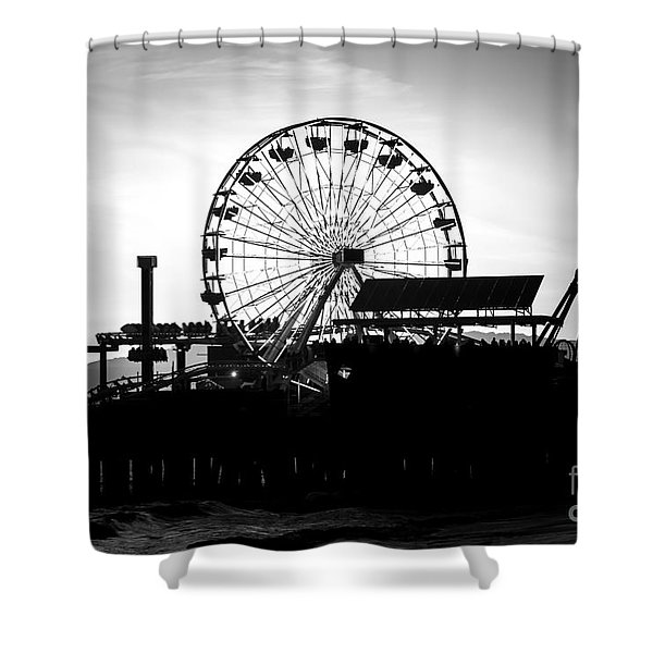 Santa Monica Ferris Wheel Black and White Photo Shower Curtain by Paul Velgos