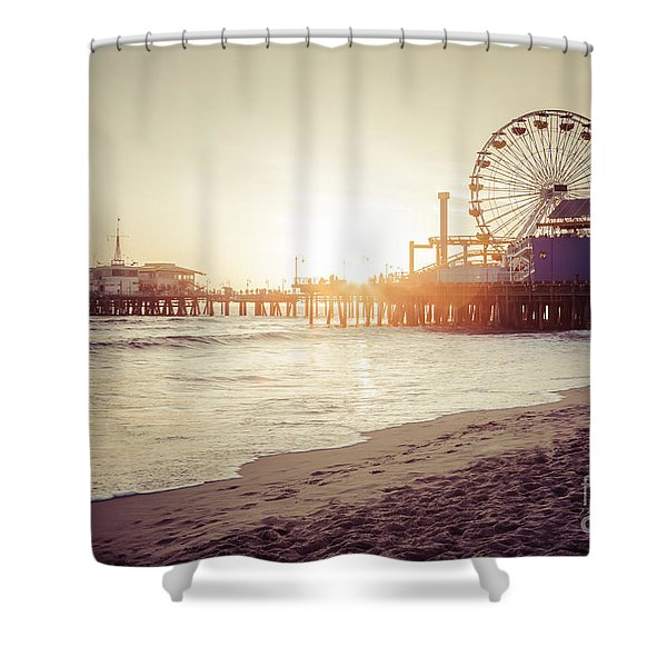 Santa Monica Pier Retro Sunset Picture Shower Curtain by Paul Velgos