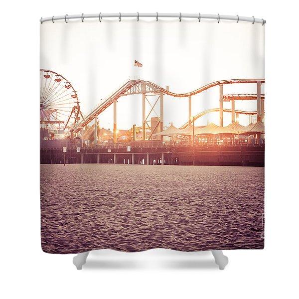 Santa Monica Pier Roller Coaster Retro Photo Shower Curtain by Paul Velgos