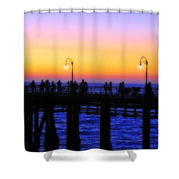Santa Monica Pier Sunset Silhouettes Shower Curtain by Lynn Bauer