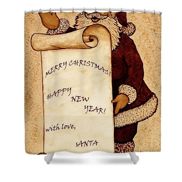 Santa Wishes Digital Art Shower Curtain by Georgeta  Blanaru