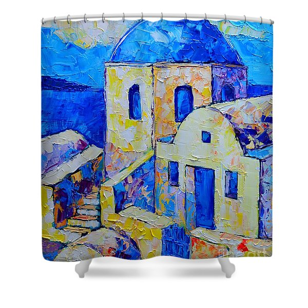 Santorini Afternoon Shower Curtain by Ana Maria Edulescu
