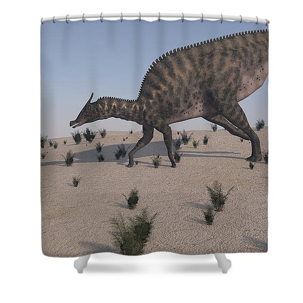 Saurolophus Walking Across A Barren Shower Curtain by Kostyantyn Ivanyshen