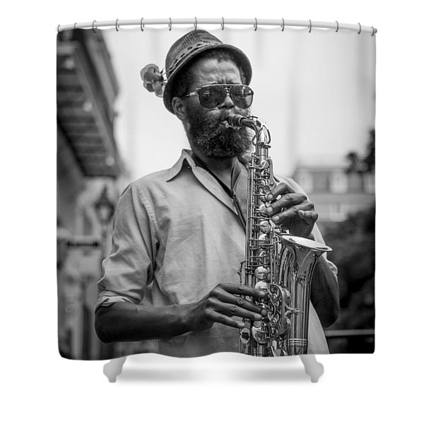 Saxophone Musician New Orleans Shower Curtain by David Morefield