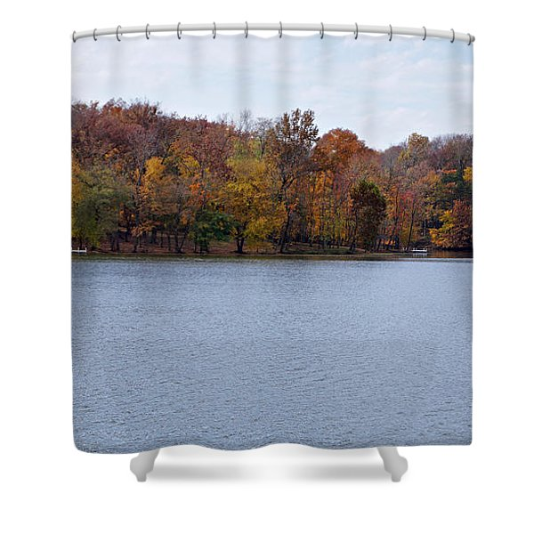 Scales Lake in Autumn Shower Curtain by Sandy Keeton