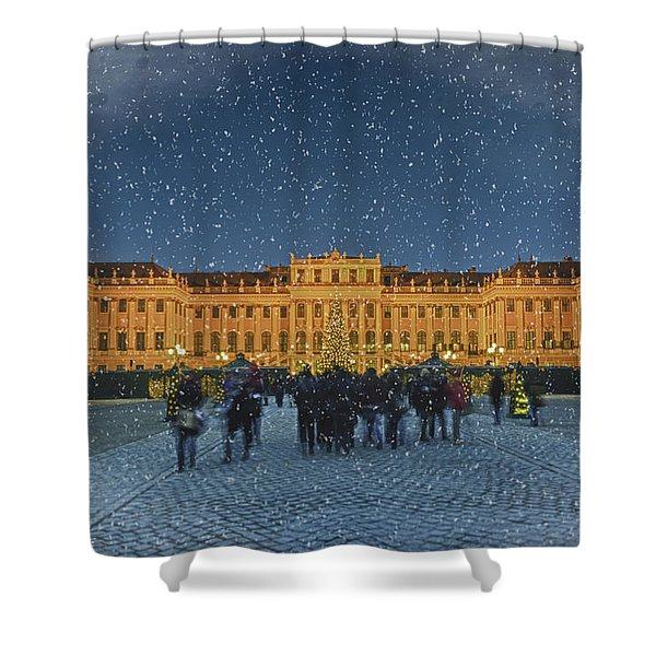 Schonbrunn Christmas Market Shower Curtain by Joan Carroll