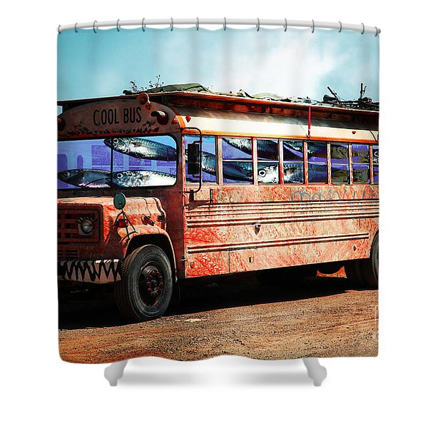 School Bus 5D24927 Shower Curtain by Wingsdomain Art and Photography