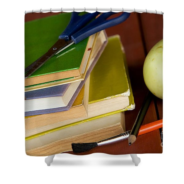 School Equipment Shower Curtain by Michal Bednarek