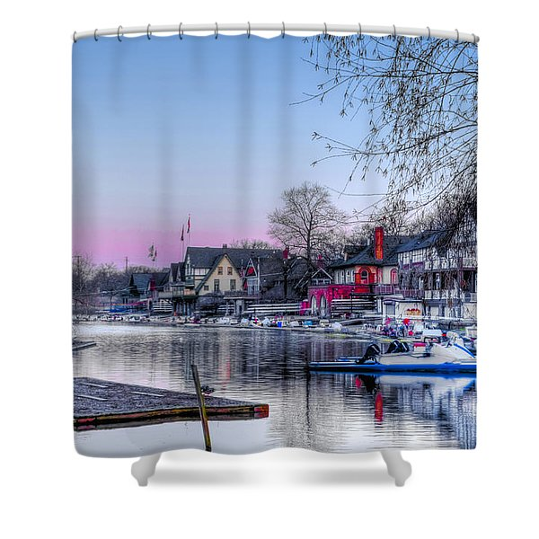 Schuylkill River and Boathouse Row Philadelphia Shower Curtain by Bill Cannon