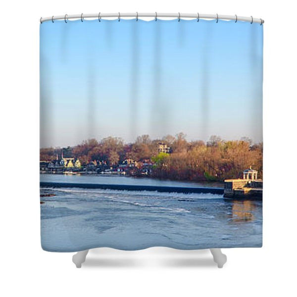 Schuylkill River at Boathouse Row and  the Fairmount Waterworks Shower Curtain by Bill Cannon