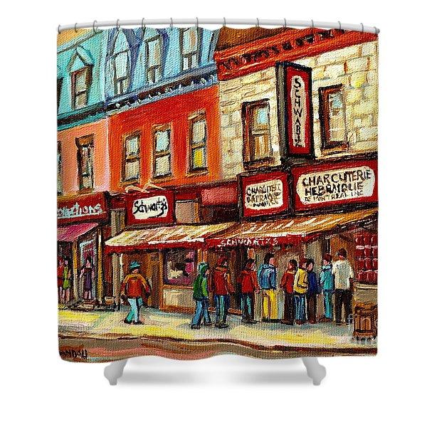 Schwartz The Musical Painting By Carole Spandau Montreal Streetscene Artist Shower Curtain by Carole Spandau