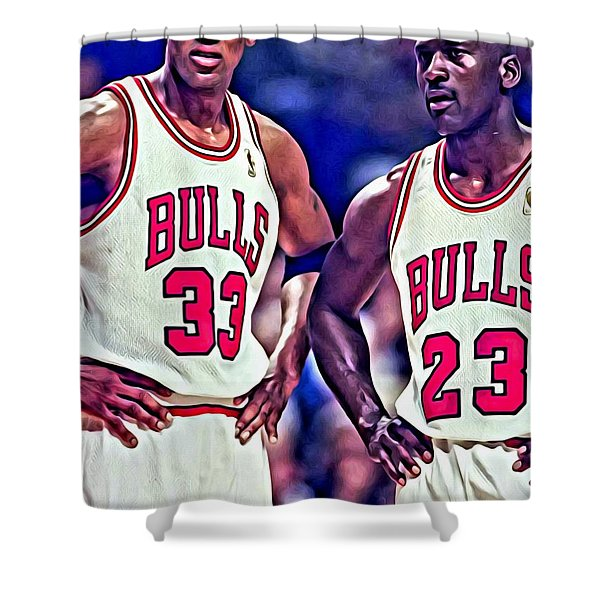 Scottie and Michael Shower Curtain by Florian Rodarte
