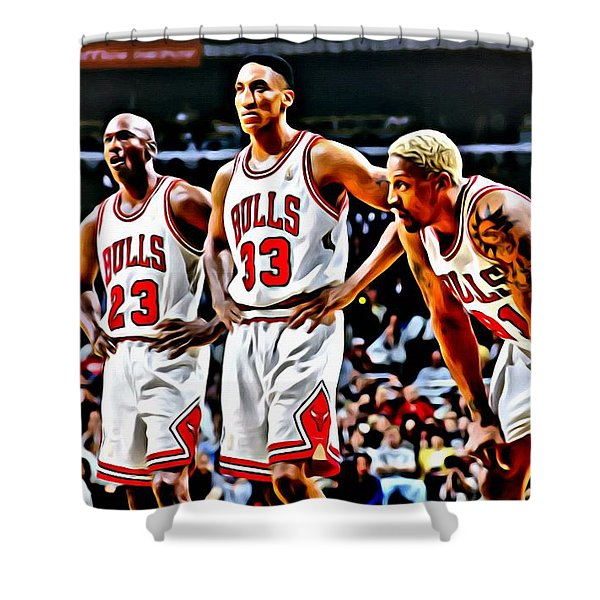 Scottie Pippen with Michael Jordan and Dennis Rodman Shower Curtain by Florian Rodarte