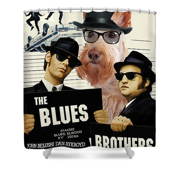 Scottish Terrier Art Canvas Print - The Blues Brothers Movie Poster Shower Curtain by Sandra Sij