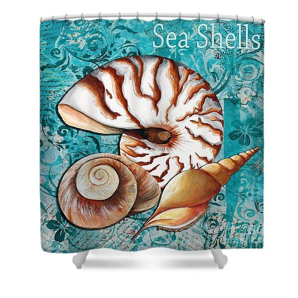 Sea Shells Original Coastal Painting Colorful Nautilus Art by Megan Duncanson Shower Curtain by Megan Duncanson