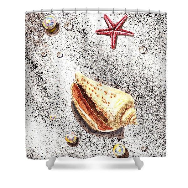 Sea Shells Pearls Water Drops And Seastar Shower Curtain by Irina Sztukowski