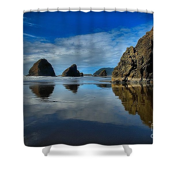 Sea Stack Blues Shower Curtain by Adam Jewell