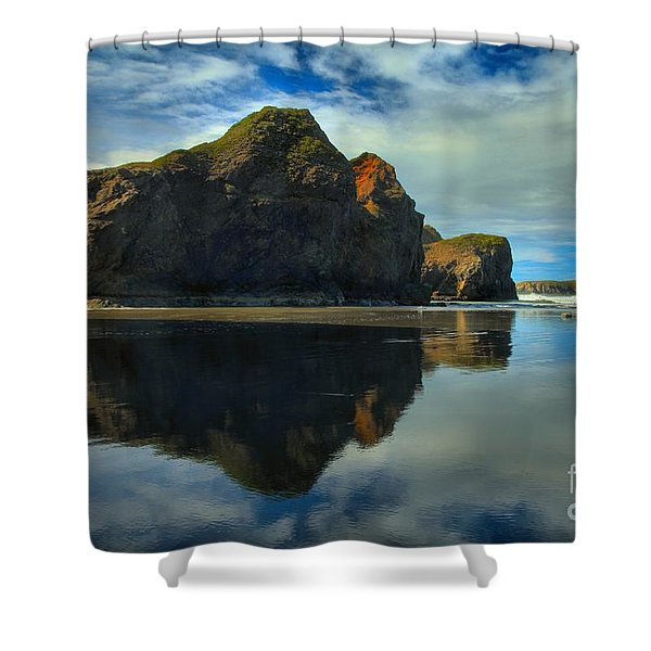 Sea Stack Swirls Shower Curtain by Adam Jewell