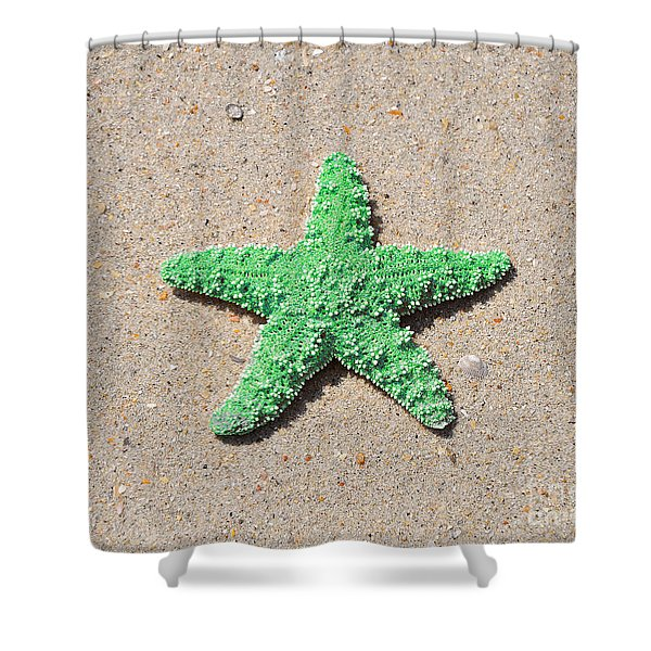 Sea Star - Green Shower Curtain by Al Powell Photography USA
