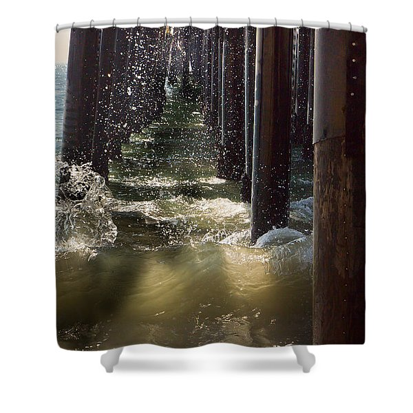 Seal Beach Pier Surf Shower Curtain by Heidi Smith