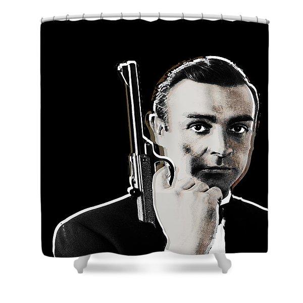 Sean Connery James Bond Vertical Shower Curtain by Tony Rubino