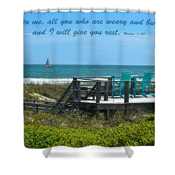 Seascape And Scripture Shower Curtain by Sandi OReilly