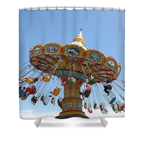 Seaswings At Santa Cruz Beach Boardwalk California 5D23905 Shower Curtain by Wingsdomain Art and Photography