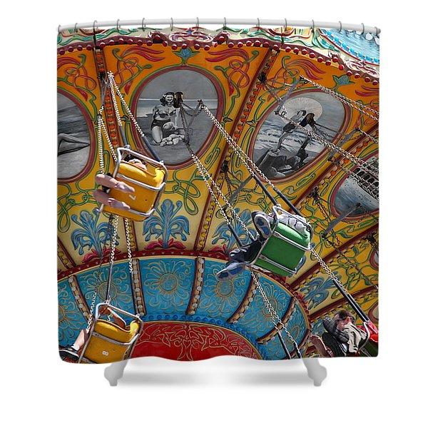Seaswings At Santa Cruz Beach Boardwalk California 5D23906 Shower Curtain by Wingsdomain Art and Photography