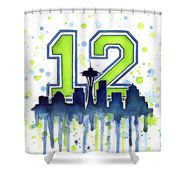 Seattle Seahawks 12th Man Art Shower Curtain by Olga Shvartsur