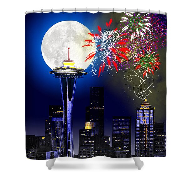 Seattle Skyline Shower Curtain by Methune Hively