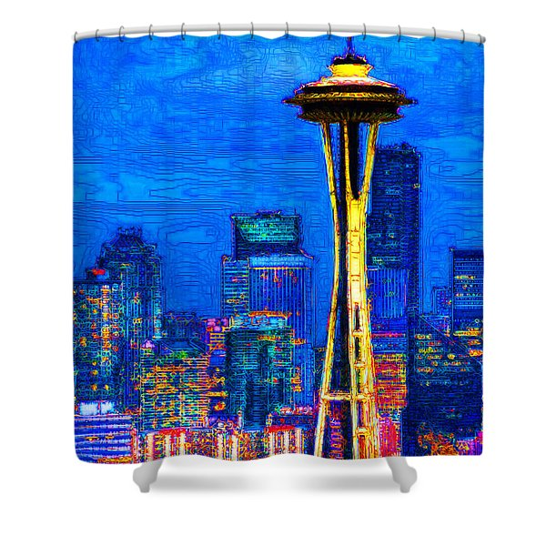 Seattle Space Needle 20130115v1 Shower Curtain by Wingsdomain Art and Photography