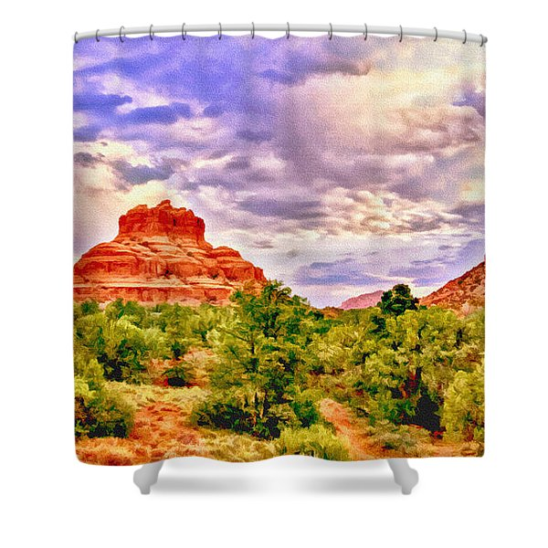 Sedona Arizona Bell Rock Vortex Shower Curtain by Bob and Nadine Johnston