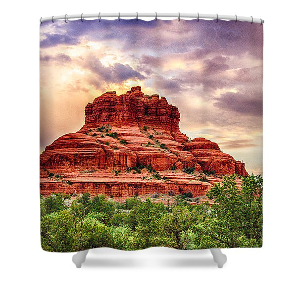 Sedona Bell Rock Vortex In Spring Shower Curtain by Bob and Nadine Johnston