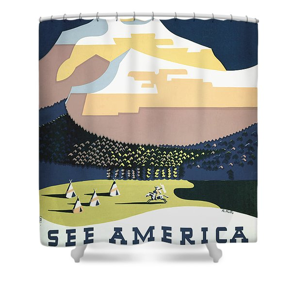 See America - Montana Shower Curtain by Nomad Art And  Design