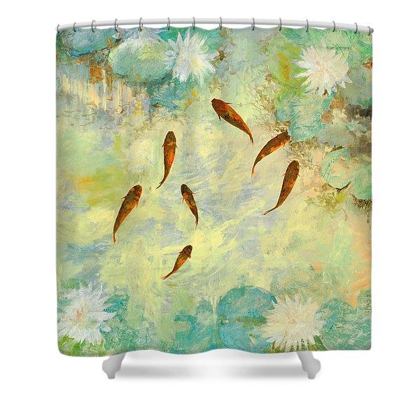 sei pesciolini verdi Shower Curtain by Guido Borelli